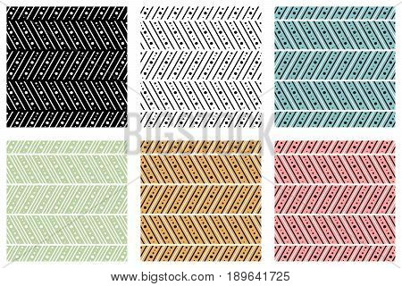 Set Of Seamless Vector Decorative Hand Drawn Patterns. Ethnic Endless Background With Ornamental Dec