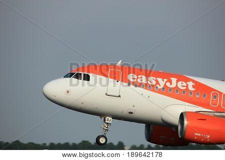 Amsterdam the Netherlands - June 2nd 2017: G-EZDJ easyJet Airbus A319 taking off from Polderbaan Runway Amsterdam Airport Schiphol