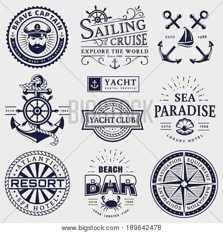 Set of sea and nautical typography badges. Collection of vector templates for company logos business identity or web design. Sailing cruise yachting resort hotel navigation and other themes.