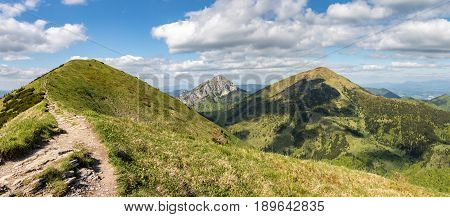 Panoramic View From Spring Slovak Little Fatra Hills National Park