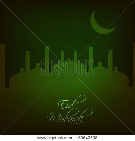 illustration of Moon and Mosque with Eid Mubarak text