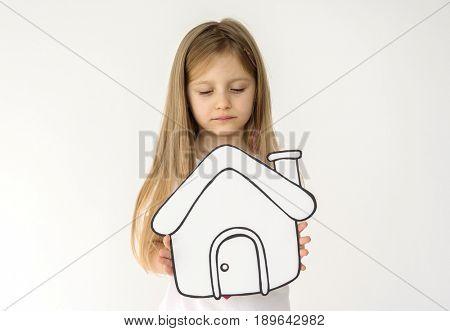 Kid portait holding paper icon