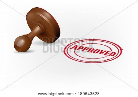 Stamp On White Background And Red Approved Print