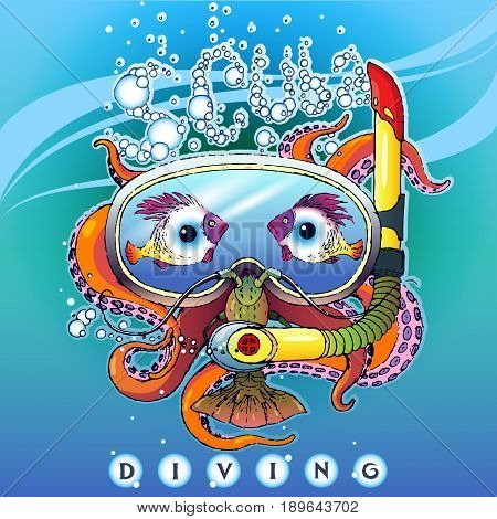 Creative stylized illustration of a logo on a theme of scuba diving. Image of an octopus in aqualung in a mask for diving with lobster and fish in the form of eyes. With the inscription: Scuba Diving