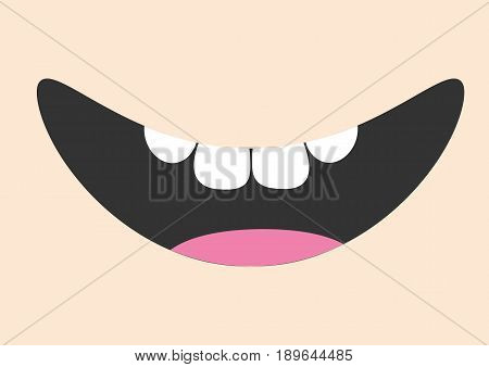 Mouth with tongue and healthy tooth. Smiling face. Body part. Cute cartoon character. Oral dental hygiene Children teeth care icon. Baby background Flat design Vector illustration