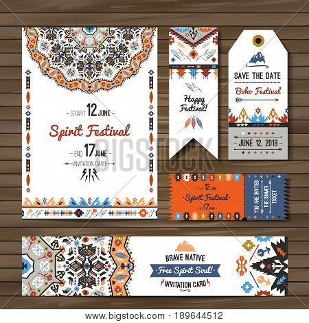 Collection of colorful banners, flyers or invitations with geometric tribal elements