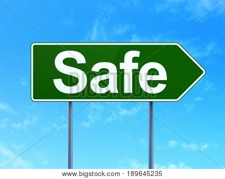 Safety concept: Safe on green road highway sign, clear blue sky background, 3D rendering