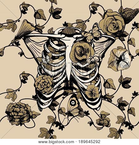 Vector illustration bones of chest surrounded and covered with plants flowers and butterflies. Ribs ribcage in yellow golden khaki color