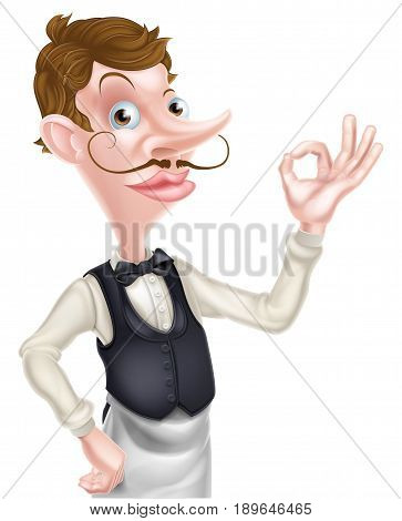 An illustration of a cartoon waiter doing a perfect or okay sign