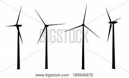 Computer generated 2D illustration with the silhouette of wind turbines