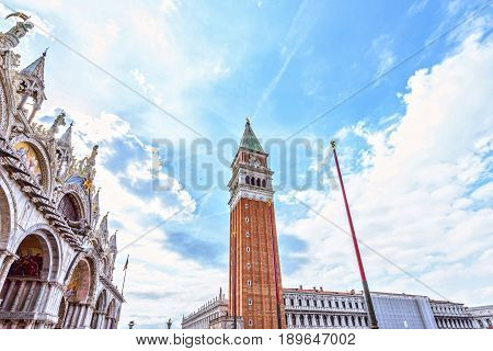 St Marks Campanile The Tower of Venetia . San Marco square in Venezzia, Italy