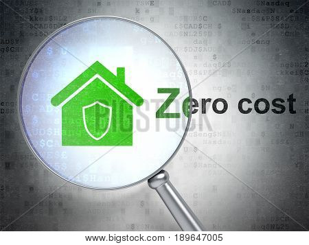 Finance concept: magnifying optical glass with Home icon and Zero cost word on digital background, 3D rendering