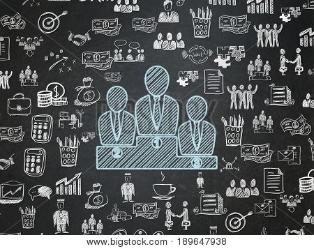 Finance concept: Chalk Blue Business Team icon on School board background with  Hand Drawn Business Icons, School Board