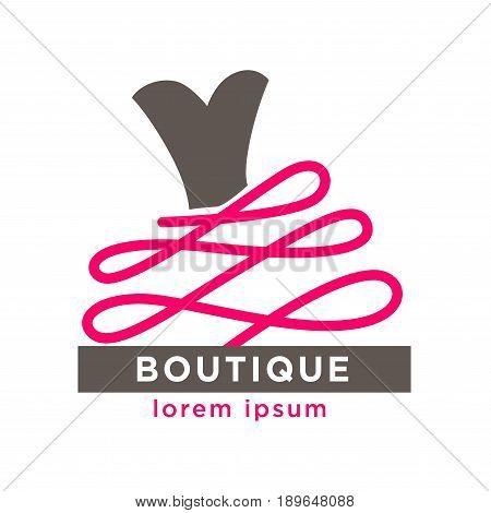 Fashion boutique with designers clothes logotype. Pink thick twisted thread that goes from heart-shaped corset from ball gown, and sign on grey line isolated vector illustration on white background.