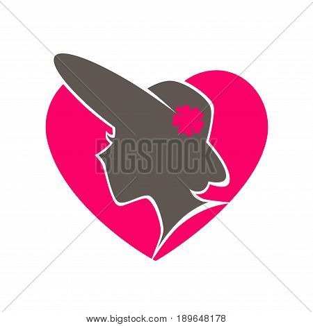 Beauty salon promotional emblem logo design. Elegant woman in old-fashioned vintage hat and flower profile dark silhouette inside big pink heart isolated vector illustration on white background.