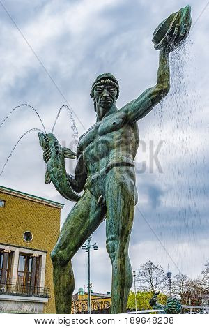GOTHENBURG SWEDEN - MAY 13 2017: Poseidon Fountain. The fountain was designed by swedish sculptor Carl Milles and was unveiled on November 20 1927.