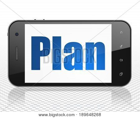 Finance concept: Smartphone with blue text Plan on display, 3D rendering