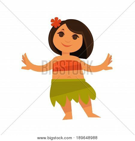 Small girl in hawaiian traditional clothes isolated on white. Vector colorful illustration in flat design of beautiful Hula female dancer wearing flower in black hair and orange top, green skirt.