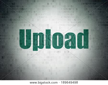 Web development concept: Painted green word Upload on Digital Data Paper background