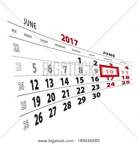 10 June Highlighted On Calendar 2017. Week Starts From Monday.