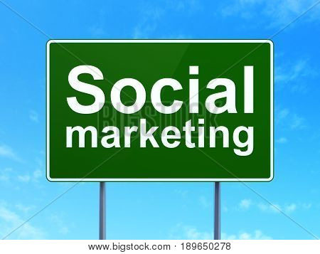 Advertising concept: Social Marketing on green road highway sign, clear blue sky background, 3D rendering