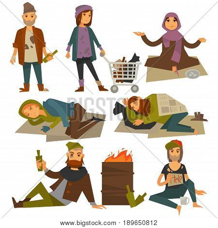 Beggars or bum and homeless vagrant people. Vector flat isolated icons of woman begging alms, man drinking alcohol bottle and sleeping outdoor on street ground in poverty