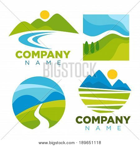 Nature landscape logo templates for green ecology environment or travel company. Vector isolated labels of forest trees, river in valley and sun over alpine mountains