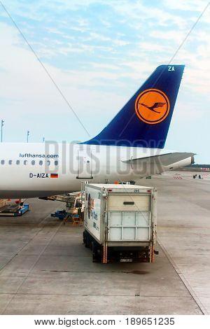 KYIV, UKRAINE - AUGUST 12, 2013:: Lufthansa Airbus A320-214 parked in Boryspil International Airport in Kyiv, Ukraine