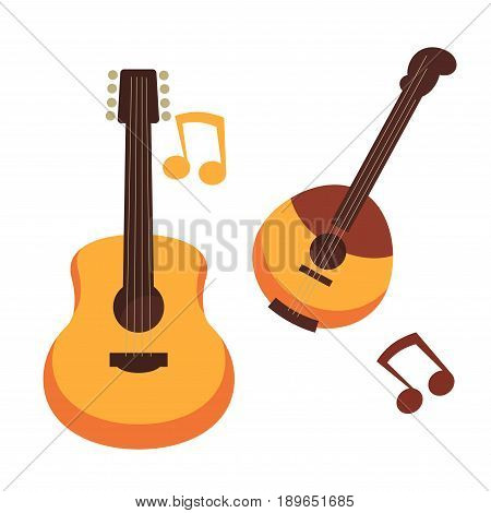 Guitars musical string instruments of banjo or folk ukulele and music notes. Vector isolated flat icons set for ethnic concert festival