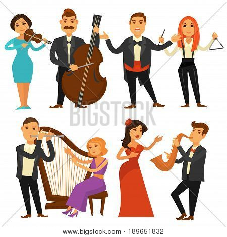 Orchestra performers singers, musicians and actors singing or playing opera musical instruments philharmonic harp, saxophone or contrabass violin. Vector flat isolated icons set of man and woman