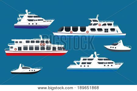 Passenger sea cruise liner ships, yachts and voyage boats sailing in ocean. Marine transport vector flat isolated icons set for summer vacation or holiday