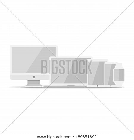 Device mockup template. Set of computer monitor, computer, laptop, phone, tablet isolated on green background. Flat vector illustration.
