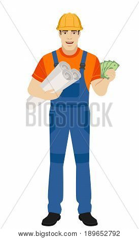 Builder holding the project plans and showing cash money. Full length portrait of builder character in a flat style. Vector illustration.
