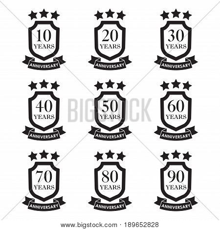 Anniversary icon set. Anniversary emblems with shield and ribbon. 10, 20, 30, 40, 50, 60, 70, 80,90 years. Celebration invitation and congratulation design element. Vector illustration.