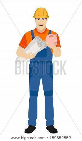 Builder holding the project plans and piggy bank. Full length portrait of builder character in a flat style. Vector illustration.