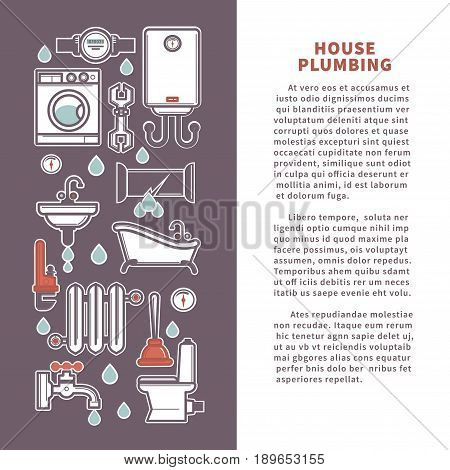 House plumbing for kitchen or bathroom. Vector poster or infographics template of household appliances bathtub or sink and toilet, water heater or sewage pipe and plumber leakage repair tools