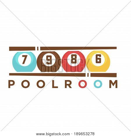 Billiard or poolroom club logo template of pool cues and balls with numbers for sport game team or championship tournament. Vector isolated icon