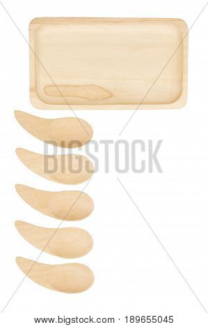 Wooden tray and spoon place aligned isolated on white background.