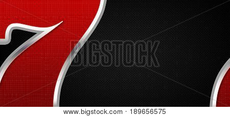 Lucky Seven Casino Banner Background. Black Carbon Like Background with Casino Games Lucky Seven Number. 2D Illustration.
