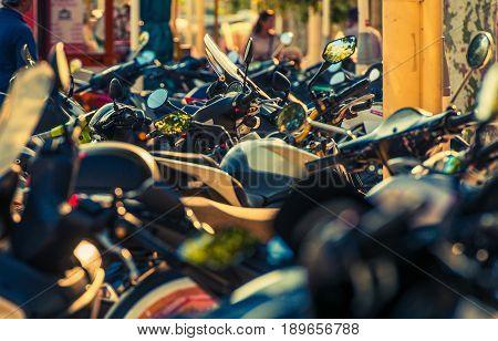 Motorcycle Parking in Cannes France. Plenty of Motor Bikes.