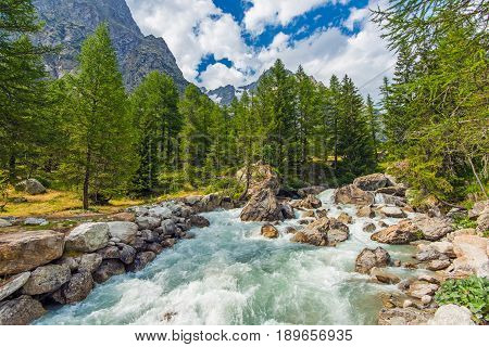 Mountain River Rush. Crystal Clear Water Coming From a Nearby Alpine Glacier. Italian Alps Landscape.