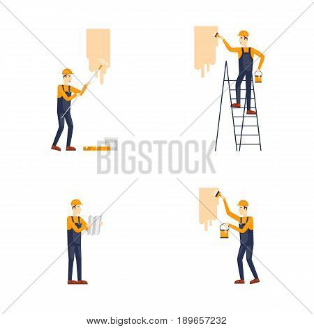 Repair, painting, construction. Builders at work. Vector illustration flat design.