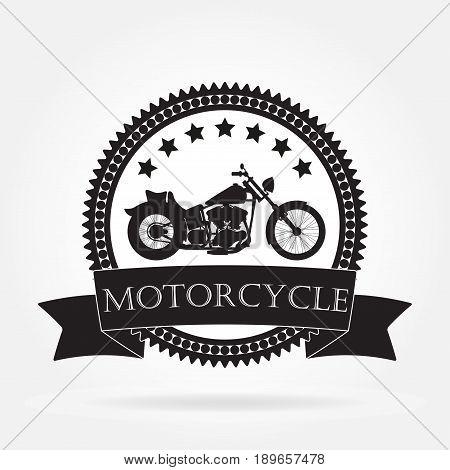 Motorcycle label. Vintage motorcycle or chopper emblem badge banner. Vector illustration.