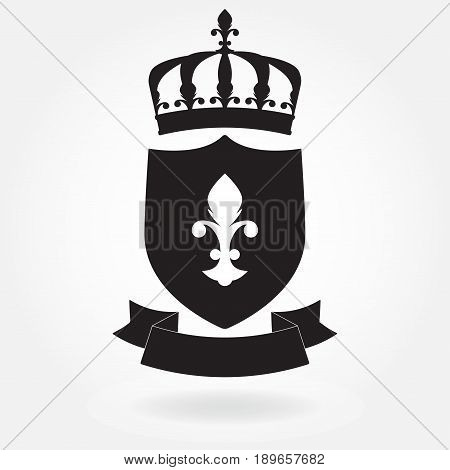 Shield with ribbon and crown. Blazon icon or sign. Heraldic royal design element. Vector illustration.