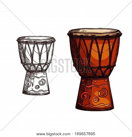 Drum musical instrument vector sketch icon. Isolated symbol of music percussion type instrument of ethnic or folk conga or jembe and timpani leather hand drum for music concert or festival design