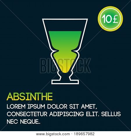 Absinthe cocktail card template with price and flat background. Vector illustration