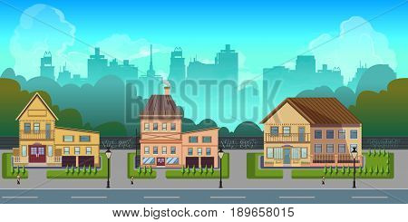 Seamless cartoon city landscape, unending background with road, buildings and sky layers.