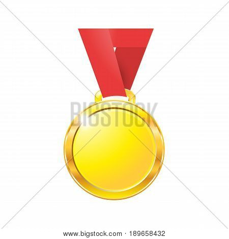 Medal Gold On A Red Ribbon Isolated On White Background