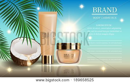Cosmetics beauty marine summer series premium coconut oil cream for suntan and skin care. Template for design posters placards ads banners vector illustration.