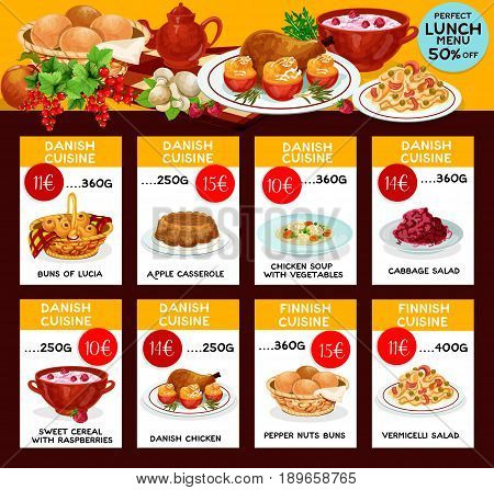 Danish cuisine vector menu for restaurant lunch of lucia and pepper nuts buns, apple casserole, roasted chicken or soup with vegetables, cabbage and vermicelli salad, sweet cereal with raspberry